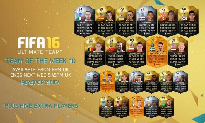 FIFA 16 UT (TOTW) - Команда недели 10