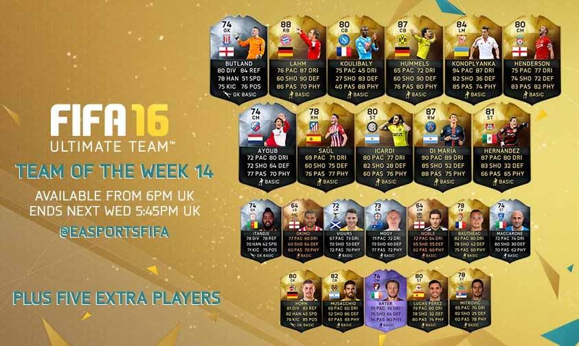 FIFA 16 UT (TOTW) - Команда недели 14