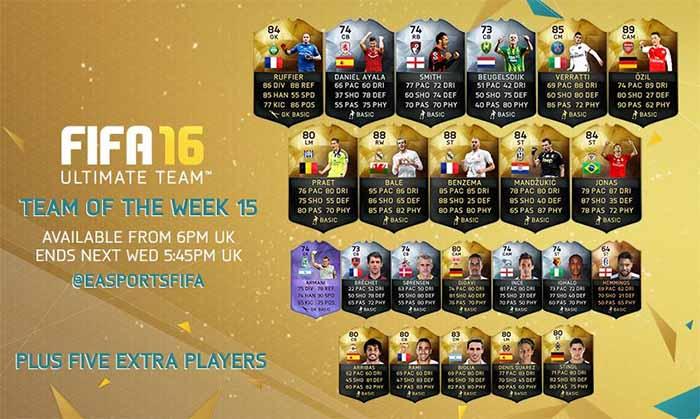 FIFA 16 UT (TOTW) - Команда недели 15