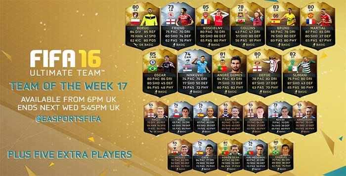 FIFA 16 UT (TOTW) - Команда недели 17