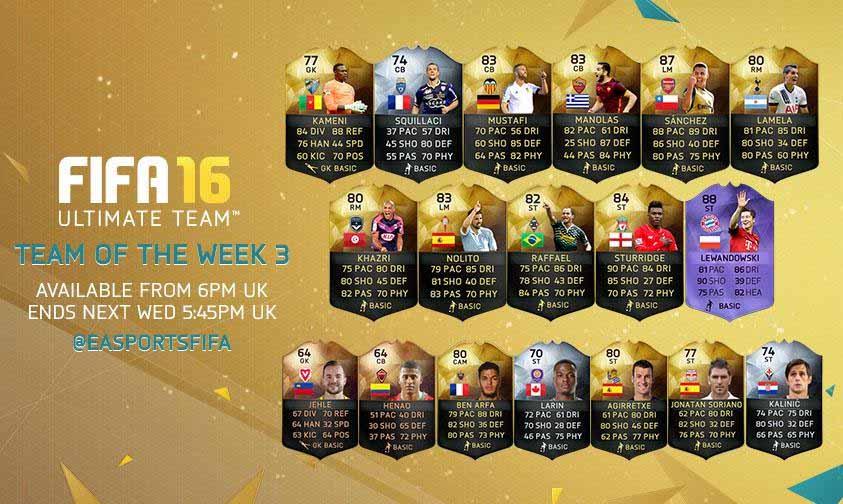 FIFA 16 UT (TOTW) - Команда недели 3