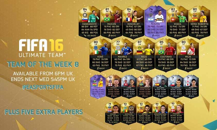 FIFA 16 UT (TOTW) - Команда недели 8